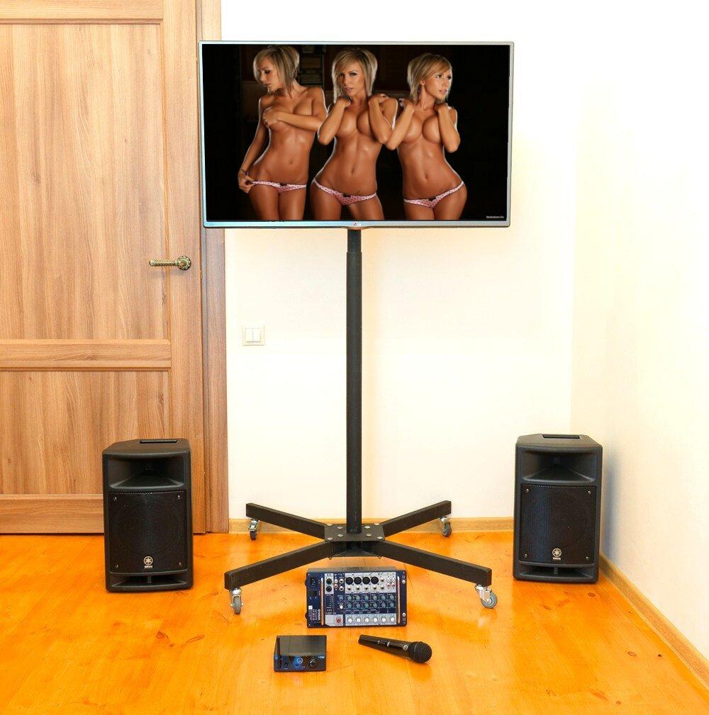 Аренда комплекта ЖК панель, напольная стойка, активные колонки, радио микрофон